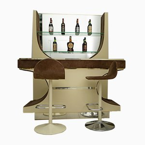 Vintage Italian Suede & Brass Mobile Bar from Stilglass Donati, 1970s