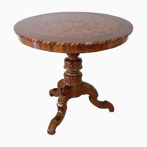 Antiker Couchtisch oder Säulentisch aus Nussholz, 1850er