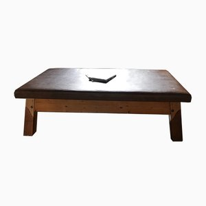 Table Basse Vintage en Cuir Marron, 1960s