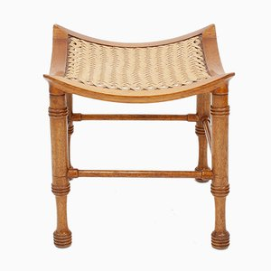 Curved Walnut & Rope Foot Stool, 1950s