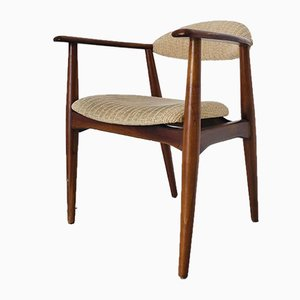 Vintage Scandinavian Wood Desk Chair, 1960s