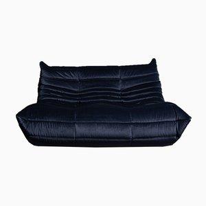 Blaues 2-Sitzer Togo Sofa aus Samt von Michel Ducaroy für Ligne Roset, 1970er