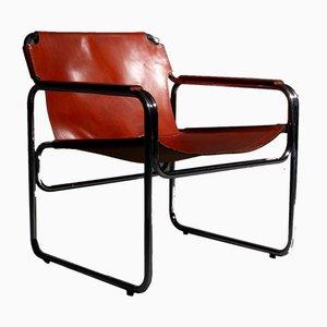 Silla vintage de acero tubular y cuero marrón rojizo, años 60