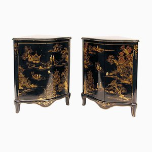 Antique Louis XV Style Black Lacquered Wood Corner Cabinets, Set of 2