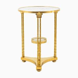 Antiker neoklassizistischer Beistelltisch aus vergoldeter Bronze