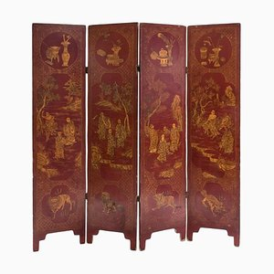 Rot lackierter antiker japanischer Raumtrenner