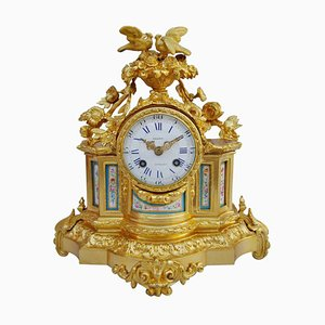 Horloge Style Louis XVI Antique en Bronze Doré