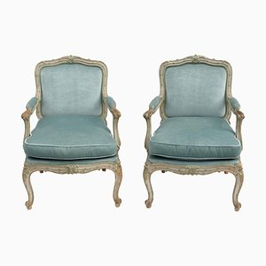 Antique Louis XV Style Blue Velvet Lounge Chairs, Set of 2