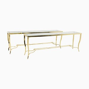Large Gilt Brass Console Tables, 1970s, Set of 2