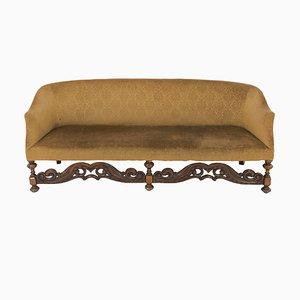 Großes antikes englisches Sofa mit Gestell aus Nussholz im jakobinischen Stil, 1900er