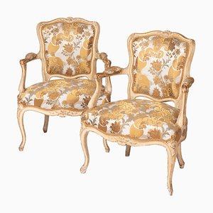 Antique Louis XV Style Cream Lacquered Wood Cabriolet Armchairs, 1900s, Set of 2