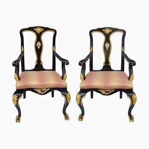 Vintage Chippendale Stühle mit geschnitztem & lackiertem Holzgestell, 2er Set