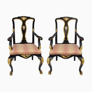 Vintage Chippendale Style Carved and Lacquered Wood Lounge Chairs, Set of 2