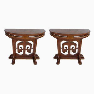 Tables Console Ancienne Demi-Lune, Set de 2