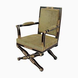 Chaise de Bureau Ancienne Style Empire Laquée Noir, années 1900
