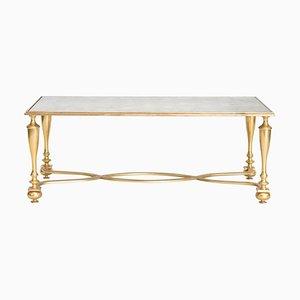 Mesa de centro de bronce dorado con tablero de espejo oxidado, años 40