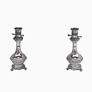 Vintage Tischlampen aus versilbertem Messing & Bronze, 2er Set