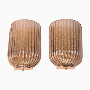 Vintage Ribbed Eglomise Glass Sconces, Set of 2