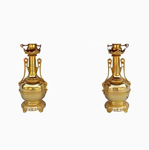 Gilt Brass and Bronze Bottle-Shaped Lamps, 1880s, Set of 2