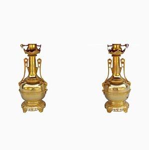 Lampade a forma di bottiglia in ottone dorato e bronzo, fine XIX secolo, set di 2