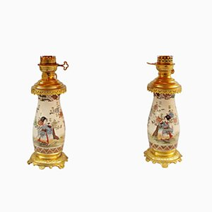 Satsuma Earthenware Geisha Vase Lamps, 1880s, Set of 2