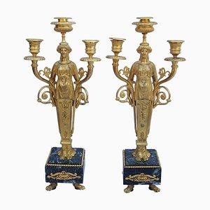 Candelabros estilo Luis XVI de cariátides de bronce dorado y mármol, década de 1900. Juego de 2