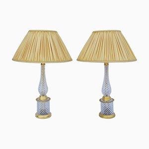 Lampes de Bureau en Cristal et Bronze Doré, années 50, Set de 2