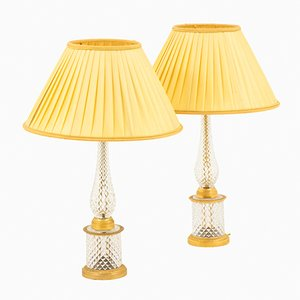 Crystal and Gilt Bronze Table Lamps, 1950s, Set of 2