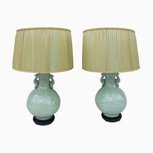 Celadon Porcelain Bas-Relief Lamps, 1950s, Set of 2