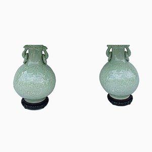 Celadon Porcelain Bas-Relief Lamps, 1950s, Set of 2