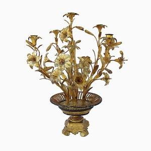Bougeoir Fleurs Ancien en Laiton Doré et Bronze, années 1880