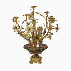 Candelabro Floras antiguo de latón dorado y bronce, década de 1880