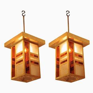 Lámparas colgantes estilo árabe de latón dorado, años 60. Juego de 2
