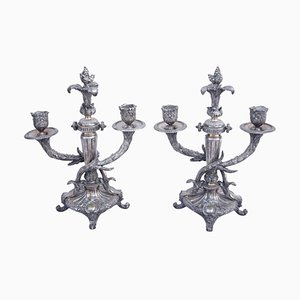 Antique Louis XVI Silver-Plated Metal Candleholders, Set of 2