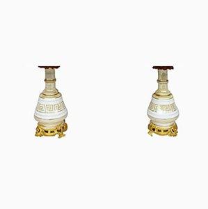Schillernde Lampen aus Porzellan mit Mäander-Muster, 1880er, 2er Set