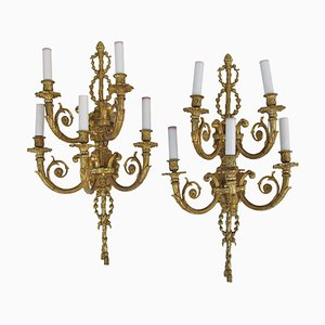 Antique Louis XVI Style Gilt Bronze Sconces, 1900s, Set of 2