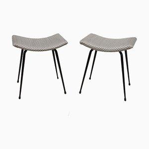 Stahlhocker mit konkaven Sitzflächen, 1950er, 2er Set