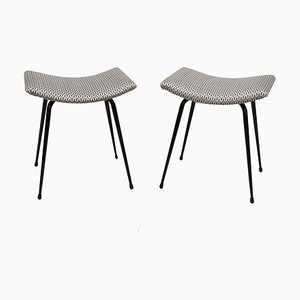 Steel Concave Stools, 1950s, Set of 2