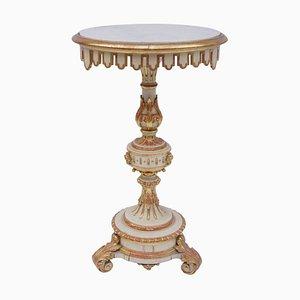 Petite Table de Chevet Ancienne en Bois Blanc, Italie, années 1880