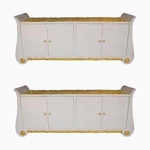 Italian Gilt Sideboards, 1980s, Set of 2