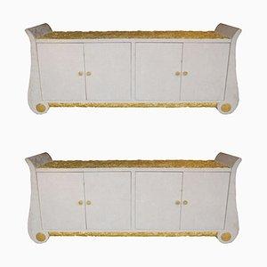 Vergoldete italienische Sideboards, 1980er, 2er Set