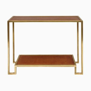Modernist Gilt Brass and Leather Console Table, 1970s