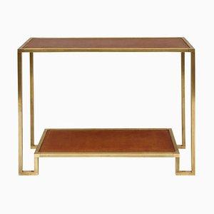 Table Console Moderniste en Laiton Doré et Cuir, années 70