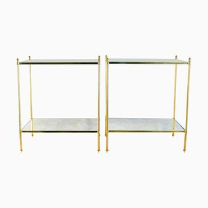 Gilt Brass Side Tables, 1970s, Set of 2