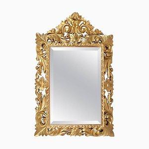 Espejo Luis XIII antiguo pequeño de madera dorada, década de 1870