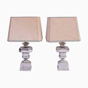 Italian Silvered & Gilt Porcelain Table Lamps, 1970s, Set of 2