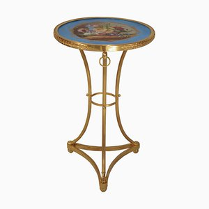 Antique Directoire Style Gilt Bronze and Porcelain Side Table, 1900s