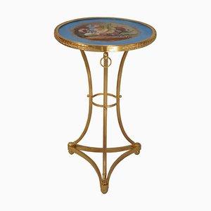 Table d'Appoint Ancienne Style Directoire en Bronze Doré et Porcelaine, années 1900