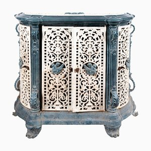 Antique Blue and White Enameled Stove Cabinet, 1880s