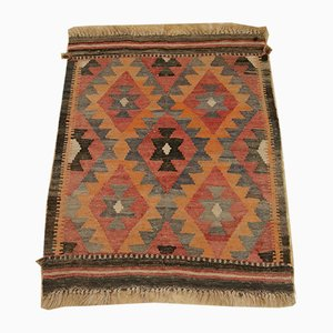 Vintage Handwoven Flat Weave Geometric Kilim Rug, 1950s